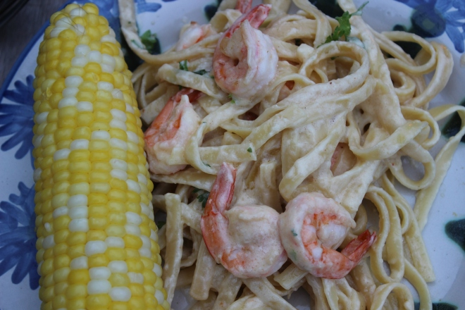 Shrimp Alfredo and Corn Close-Up