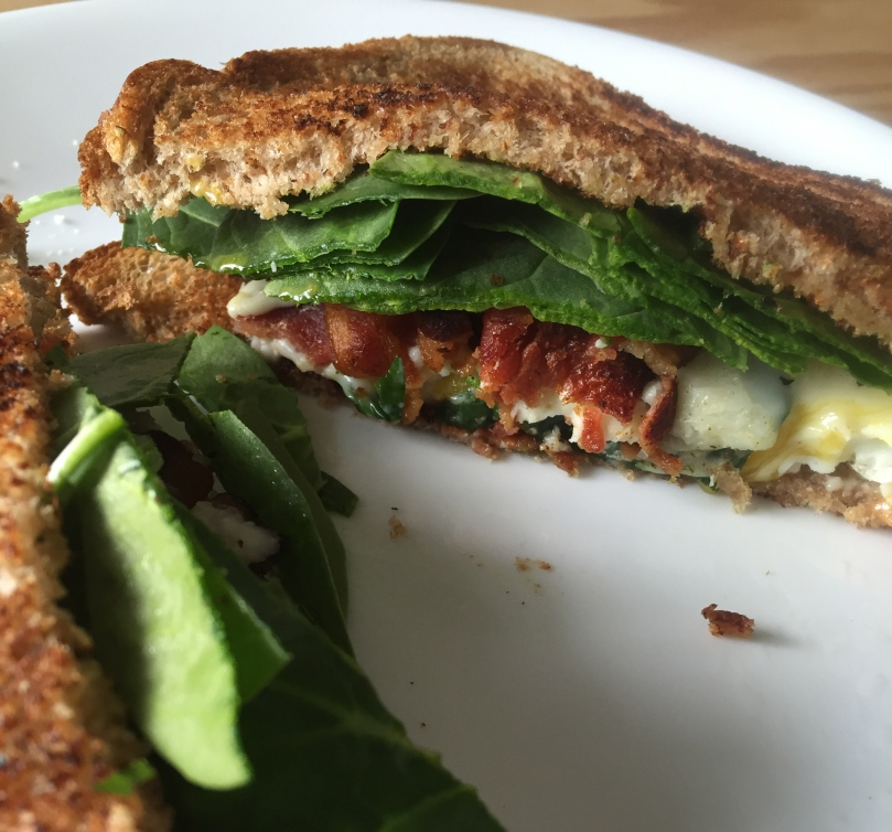 Bacon, Egg and Spinach Breakfast Sandwich