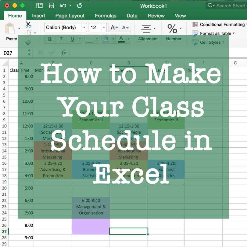 How to Make Your Class Schedule in Excel | Sunkissed
